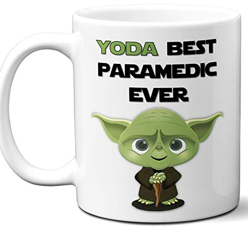 Paramedic Coffee Mug - Funny Gift For Paramedic. Yoda Best Employee Ever. Cute, Star Wars Themed Unique Coffee Mug, Tea Cup Idea for Men, Women, Birthday, Christmas, Coworker.