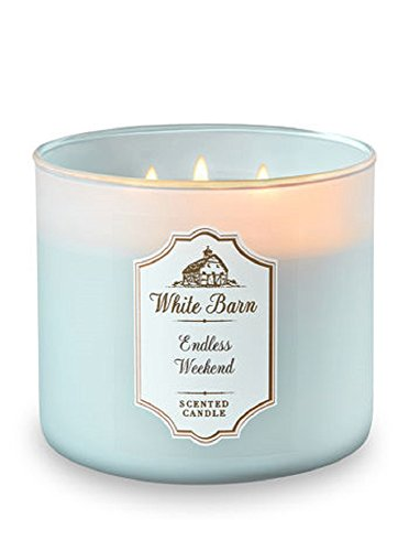 3 Bath Body Works - Bath and Body Works White Barn 3 Wick Scented Candle Endless Weekend 14.5 Ounce with Essential Oils