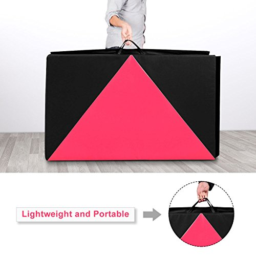 COSTWAY 4'X10'X2 Gymnastics Mat Folding Panel Thick Gym Fitness Exercise Pink/Black New by COSTWAY (Image #6)