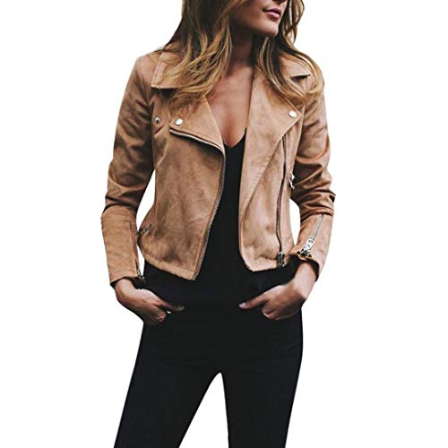 iYYVV Womens Ladies Retro Rivet Zipper Motorcycle Jacket Casual Cropped Coat Outwear Khaki