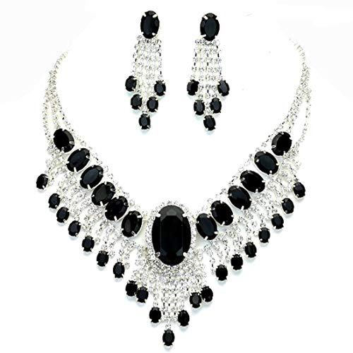 - Affordable Wedding Jewelry Onyx Black Clear Rhinestone Cascade Earrings Silver Necklace Set
