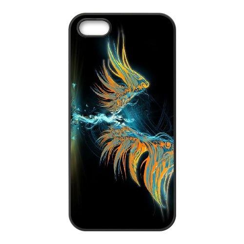 L0Q84 abstrait ange P7Z7IF coque iPhone 4 4s cellulaire cas de téléphone couvercle coque noire RX8LOX4NA