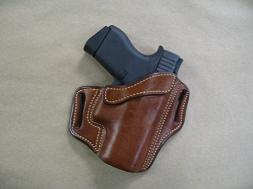 Azula OWB Leather 2 Slot Molded Pancake Belt Holster for Glock 43, 43X 9mm Pistol CCW TAN RH