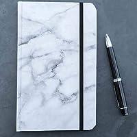Cuaderno mediano mármol blanco interior puntos pasta suave