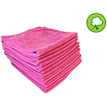 "48 PACK 16""x16"" Hot Pink Warp Knitted Polishing/Cleaning Microfiber Towels"