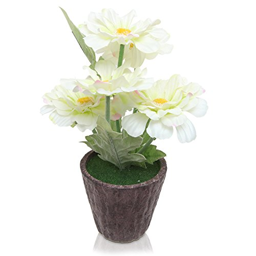 MyGift® Artificial White Silk Zinnia Flower Plant in Round Pot / Faux Floral Centerpiece Arrangements (Pots For Centerpieces)