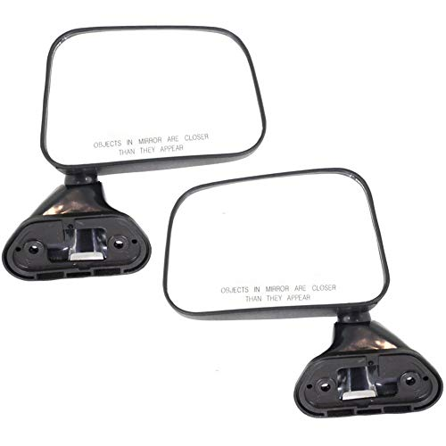 Manual Mirror compatible with Toyota Pickup 89-95 Right and Left Side Manual Folding Non-Heated Door Mount W/Vent Window Textured Black