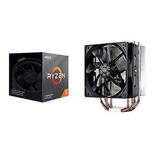 AMD Ryzen 5 3600X 6-Core, 12-Thread Unlocked Desktop Processor with Wraith Spire Cooler and Cooler Master Hyper 212 Evo CPU Cooler with PWM Fan, Four Direct Contact Heat Pipes