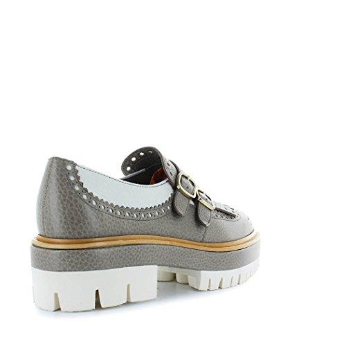 Gris Santoni WUCC57109HQPSDRBE90 Femme À Cuir Chaussures Boucles EBPzFqB