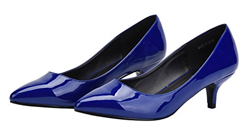 PU Kitten Pointy CAMSSOO Blue Toe Wedding Heels Slip Shoes Pumps On Women's Party for W6UaUwxf