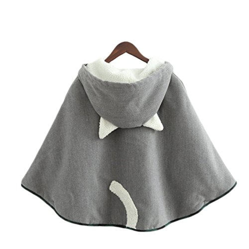 Aza Boutique Womens Cute Button Down Tweed Cat Ears Hooded Cape,One Size,1_gray_fleece