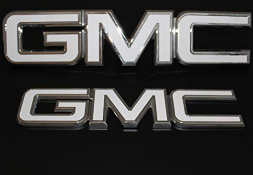 2016-2017 GMC Sierra 1500 White carbon fiber vinyl billet aluminum grille & tailgate emblems Red letter replacements (Gmc Carbon)