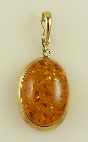 Amber Oval Pendant 14k Yellow Gold Enhancer by Vics Fine Jewelry (Image #1)