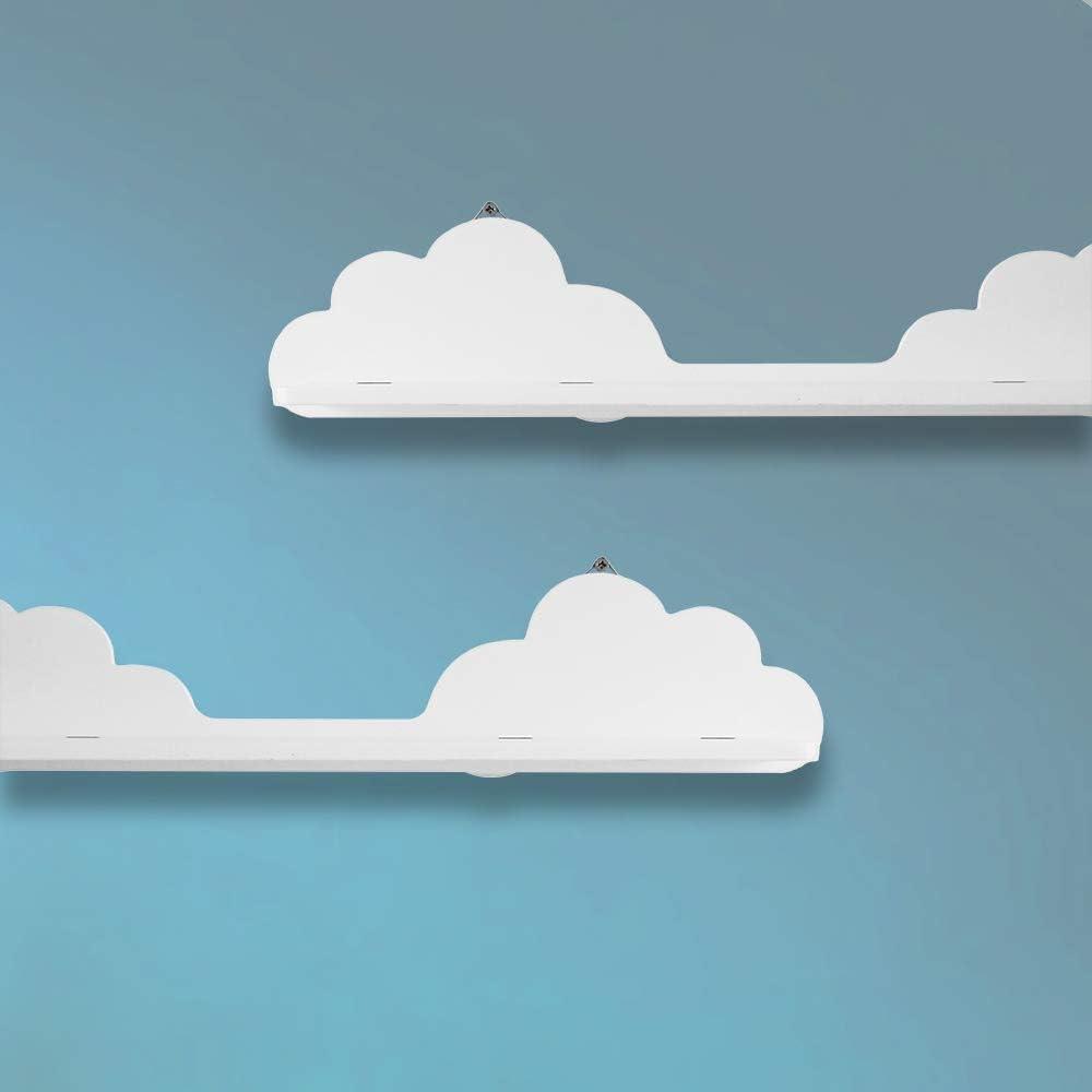 /étag/ère l/ég/ère 54 cm Tableau MDF blanc pour chambre de b/éb/é HomeZone/® Lot de 2 /étag/ères flottantes en forme de nuage pour salle de jeux denfant