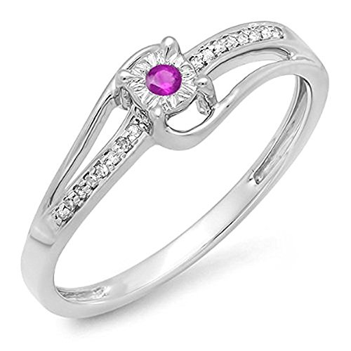 14K White Gold Round White Diamond & Pink Genuine Sapphire Wave Ladies Bridal Promise Engagement ()