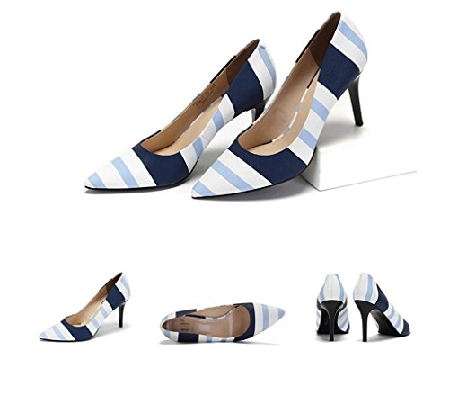 Shoes Print Comfortable High Pointed Mouth Striped Elegant Blue Beautiful Shallow Shoes Summer Heels Wedding Work UFqzxCw