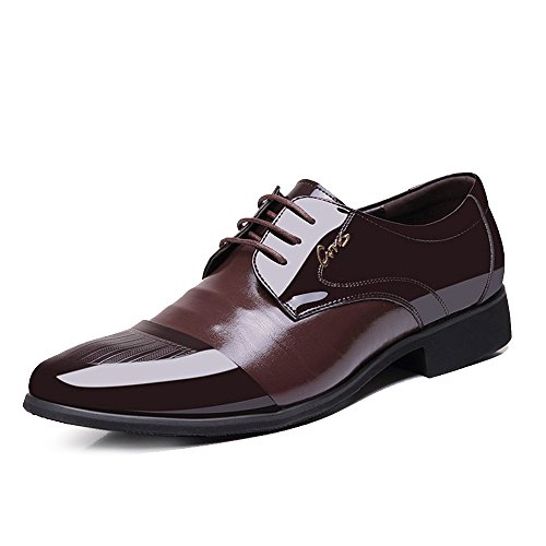Blivener Men's Tuxedo Oxfords Lace up Dress Shoes Pointed Toe Brown US8.5 by Blivener