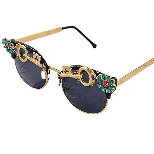 las de ULTRAVIOLETA la hechas mujer personalidad dominante mujeres Gafas sol barrocas sol a del Gafas cristalinas mano de Gafas para sol protegidas metal para la de del polarizadas de c con decoración COz7q6a
