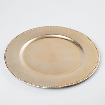 Richland Charger Plate Beaded Round 13\u0026quot; Gold Set ... & Amazon.com: Richland Charger Plate Beaded Round 13\