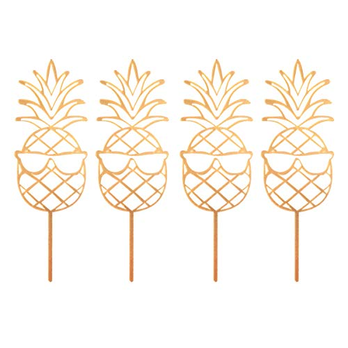 4pcs Acrylic Cake Toppers Hollow Out Pineapple Cupcake Topper Fruit Picks Dessert Table Decorative Supplies (Golden)