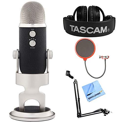 Blue Microphones Yeti Pro USB Condenser Microphone, Multipattern (Blue-YETIPRO) + Tascam Closed-Back Headphones + Suspension Boom Scissor Arm Stand + Pop Filter Microphone Wind Screen + More