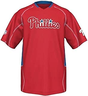 b9ed62f6c21 Majestic Philadelphia Phillies Men s Fast Action Jersey Red Big and Tall  Sizes