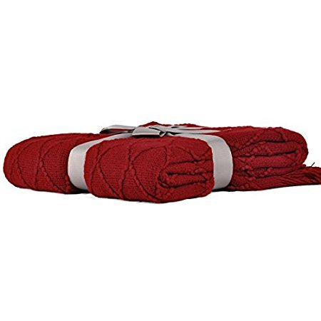 "Battilo Knit Diamond Pattern Decorative Throw Blanket, 50"" by 60"", Red/Burgundy"