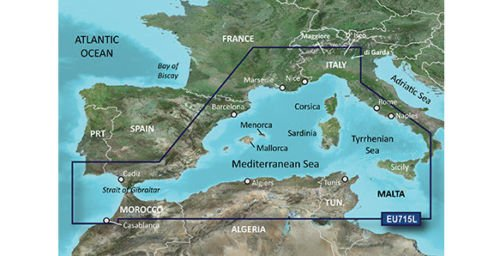 Garmin BlueChart g2 Vision veu715l Mediterranean West Europe tarjeta SD 2016 010-C0862-00