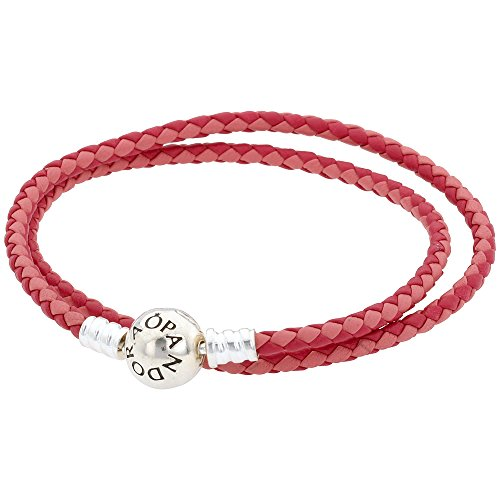 Pandora Mixed Pink Woven Double-Leather Charm Bracelet 590747CPMXD2