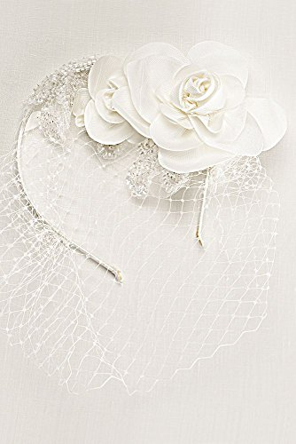 Flower and Bead Rustic Tulle Headband Style WPD17121, Ivory