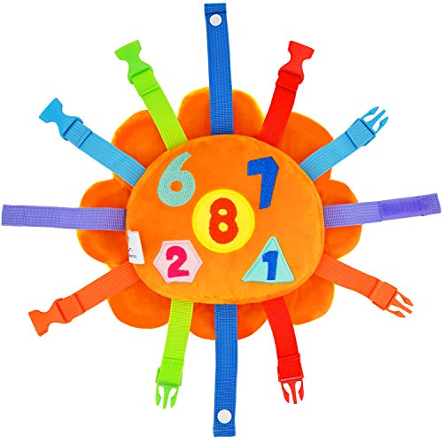 Toddler Early Learning Toy with Buckles, Self Adhesive Tape, Crinkle Paper and Numbers, Kids Cartoon Travel Toy, Preschool Toy for Developing Fine Motor Skills, Ideal Gift for Babies (Lion)