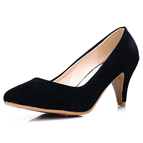 fereshte Women's Classic Simple Suede Kitten Heel Pointed-Toe Slip-On Pump Shoes Black amAMDkVydO