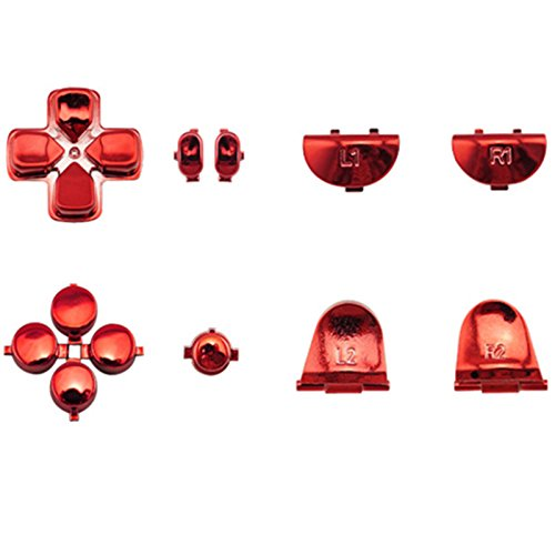 WPS New Version JDM-030 JDS-030 Chrome buttons Collection Parts Set for PS4 Playstation 4 Dualshock 4 ( GEN 2nd Controllers ONLY) (Chrome Red) -