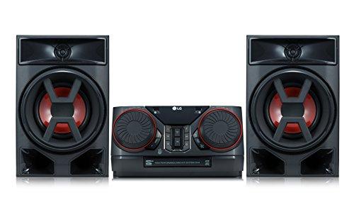 LG CK43 Mini Hifi-systeem met CD, radio en USB-ingang chroom/zwart/rood