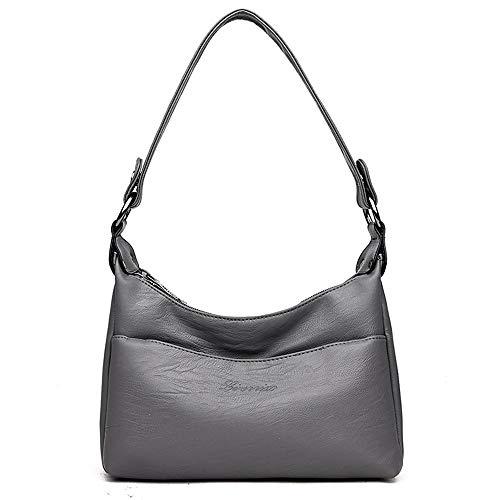 multi Women's simple Bolsos bag XNQXW leather Messenger Gray practical shoulder bandolera bag layer soft 7Ha7nIw