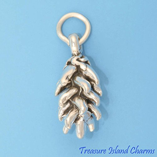 (Charm - Sterling Silver - Jewelry - Pendant - Chili Chile Pepper Ristra Wreath Vegetable)