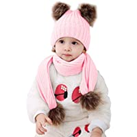 2pcs Baby Girls Boys Winter Hat Scarf Set, Infant Toddler Newborn Baby Knit Warm Beanie Cap Ski Hat + Scarf with Pom Pom Ball