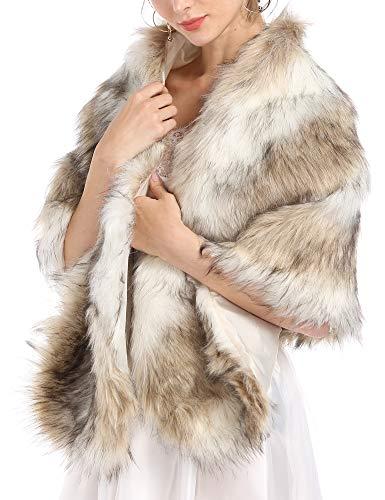 (Caracilia Women's Faux Fur Shawl Shrug Universal Girl Wraps sansemao L CAFB5)