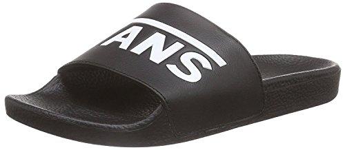Pvc New Women Sandals White (Vans Mens Slide-On Black White Synthetic Sandals 9 US)