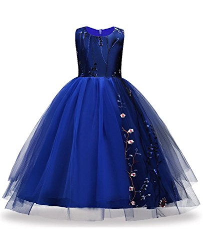 Beauty Pageants Dresses (Girl Pageant Dress Long for Teen Girls Size 4 6 5-7 Years Toddler Children Special Occasion Graduation Party Prom Gowns Beauty Pageant Dresses Sapphire Navy Little Girls Dresses 7-16 ( Sapp 130 ))