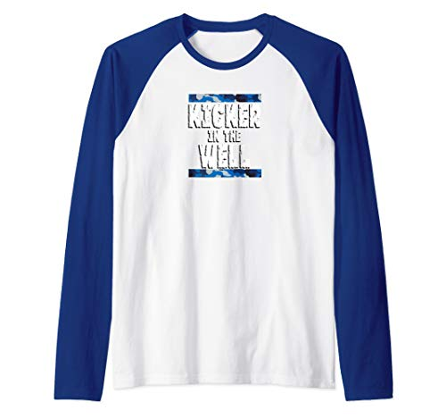 Kicker in the Well Blue Camo Raglan Baseball Tee