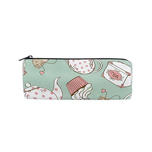 Round Pencil Case Bag Cute White Pink Polka Dots Tea Set and Cupcakes Multi FunctionSchool Supplies Organizer Pouch Bag with Zipper Closure