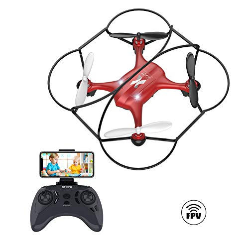 ATOYX AT-96 FPV Mini WiFi Drone,HD FPV WiFi Transmission RC Quadcopter with Altitude Hold Headless Mode 3D Flips One Key Start/Land for Kids and Beginners(Red) (Best Budget Drone With Hd Camera)