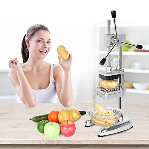 ROVSUN Upgraded Commercial Grade French Fry Cutter with Rudder Stock Lever, Vertical Fruit Vegetable Potato Slicer, Including Suction Feet,1/2-Inch,3/8-Inch,1/4-Inch Blades and Pusher Blocks by ROVSUN (Image #7)