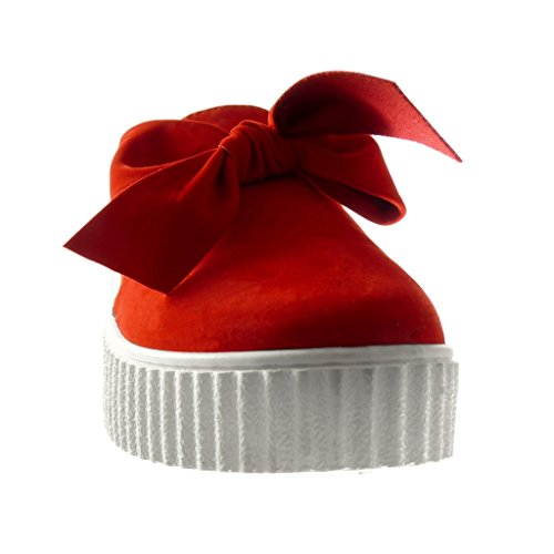 Angkorly - Chaussure Mode Baskets plateforme slip-on femme noeud papillon Talon compensé plateforme 3.5 CM - Rouge