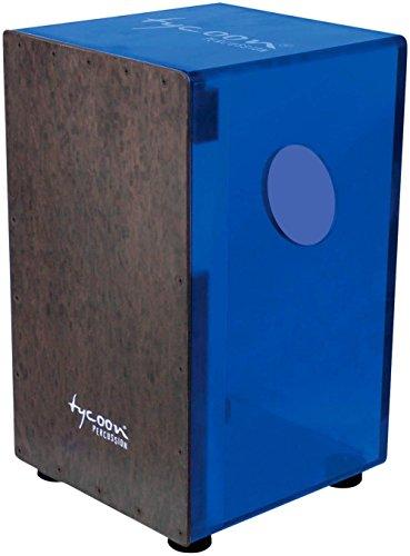Tycoon Percussion 29 Series Acrylic Cajon Royal Blue Black Makah Burl Front ()