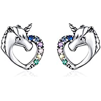 YQM Hypoallergenic Stud Earrings Sterling Silver Heart Shape Cute Animal CZ Unicorn Earrings