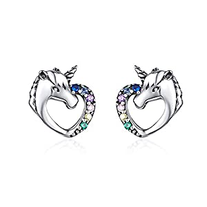 Hypoallergenic Stud Earrings for Girls Women S925 Sterling Silver Love Heart Cute Animal CZ Unicorn Gifts for Girl Women