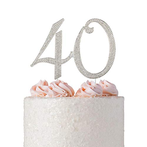 40 Rhinestone Birthday Cake Topper | Premium Crystal Bling Diamond Rhinestone Gem | Monogram Number Forty | 40th Birthday or Anniversary Party Decoration Ideas | Perfect Keepsake (40 (Crystal Monogram)