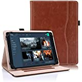 """Bluezoon Universal Folio Case 9 – 10 Inch Tablet- Slim Stand PU Leather Cover 9"""" 10.1"""" Touchscreen Tablet Document Card Pocket Stylus Pen Holder (Brown)"""